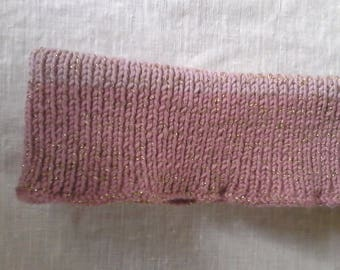 Wool pink and gold headband
