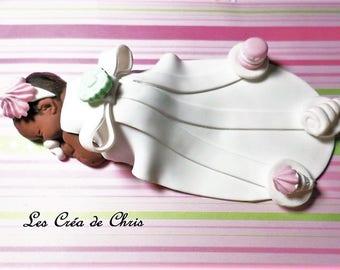 baby girl fimo creole theme baptism.