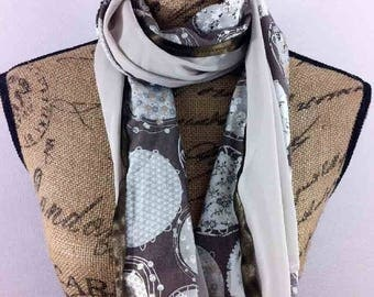 Scarf long 60x140cm taupe and Brown Alisson