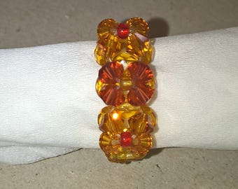 Orange red color seed bead ring