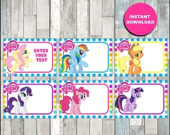 50% OFF My Little Pony Printable Cards, tags, book labels, stickers, kids cards, gift tags, labeling, scrapbooking - type your own text