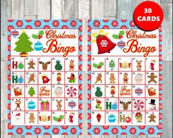 Printable 30 Christmas Bingo Cards; printable Christmas Bingo game, Christmas printable bingo cards instant download