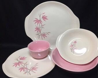 5 pc Serving Dish Set - Pink Bamboo by Salem China 1960's