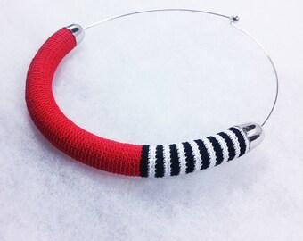 Grocollo in Lisle's crochet worked ++ Glimlag Stripes red ++