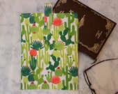 Book Sleeve CACTUS Cacti Cover LARGE Pouch Velcro Tab Closure Green White Orange Lined Cotton Gift Reader Bookworm Teen Tween Girl Woman