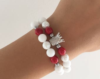 TWO cz crown bracelets; Valentine's gift for girlfriend   Valentine's gift for her. Stylish, high quality, natural stone. FREE SHIPPING!