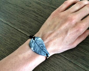 Leaf Diffuser Bracelet with Leather cord