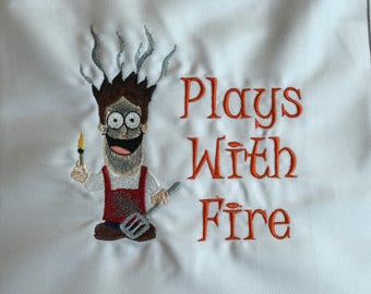 """Grill Apron """"Plays with Fire"""" Embroidered Design"""