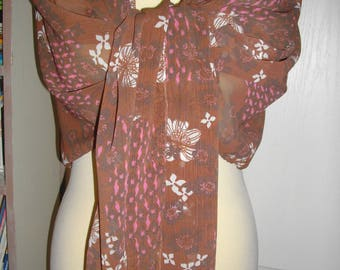 Stole, Brown scarf with flowers white and pink