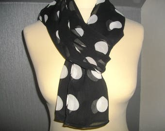 chiffon shawl black and white dot