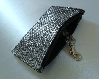 Bag Wallet coin leather key purse purse pouch Silver
