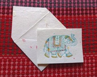 Hand printed elephant notecard set of 3