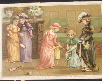 Wishing You The Compliments Of The Season, Victorian Lithograph Card.