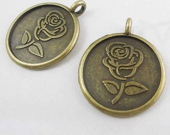 2 charms medallion pattern rose bronze metal