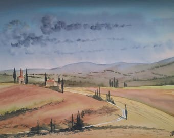 Tuscany landscape watercolor