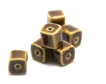 "4 ceramic beads ""cube"" 12 x 11 mm, brown/yellow"