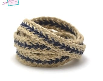 1 m braided strap rope 001, 15 mm cream/blue