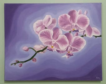 Pink orchid Orchid painting Floral art painting Oil painting orchid Orchid on canvas Pink flower painting Wall decor Home decor Gift for her