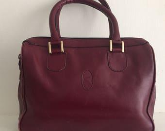Oxblood Leather Boston Bag