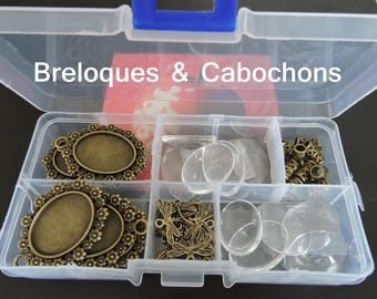 Necklace eco 10 blank + 10 + 10 bails + 10 charms + 1 Dragonfly glasses box