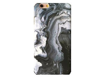 Black Watercolor Marble iPhone 7 Case Glossy Abstract High Quality Hard iPhone 8 6s 6 Plus Top Selling Gift For Her iPhone Case
