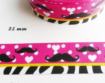 Pink grosgrain Ribbon with polka dots & white, Zebra heart, 25 mm sold by 50 cm black mustache