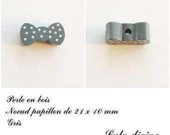 Wood 21 x 10 mm bead, Pearl flat bow tie: grey