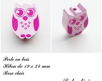 19 x 24 mm wooden bead, Pearl flat OWL / owl: light pink