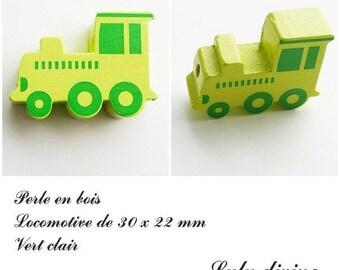 30 x 22 mm wood bead, Pearl flat Train / Locomotive: light green