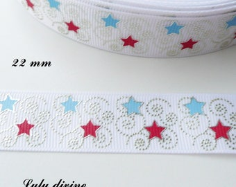 Big Ribbon white grain effect 22 mm star red & blue arabesque sold by 50 cm