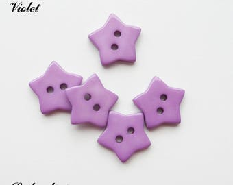 Set of 5 buttons Star 2-hole 17 mm: Violet