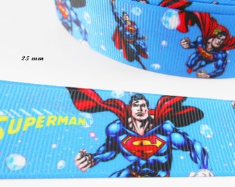 Superman 25 mm blue grosgrain Ribbon sold by 50 cm