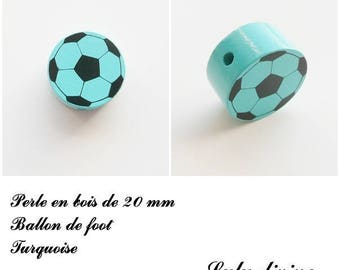 Wooden bead of 20 mm, flat bead, soccer ball: Turquoise