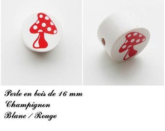 Wooden bead of 16 mm, flat, mushroom bead: white / red