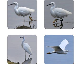 Set of 4 Egret drinks coasters featuring award winning photography by UniquePhotoArts.