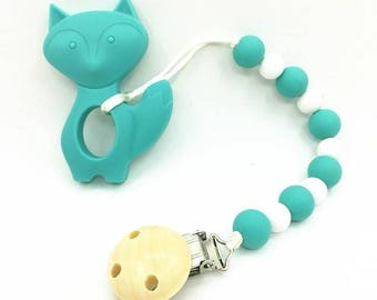 Silicone fox sensory baby teether