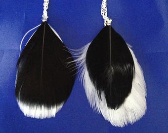 Feather chain earrings *...