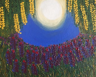 Lavender and Goldenchain - original textured acrylic painting