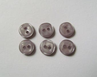Set of 7 Mini plain square buttons purple clear 8mm