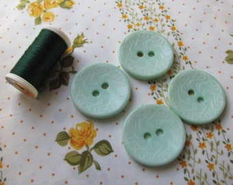 4 large buttons decorative green almond 36mm