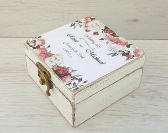 Floral wedding ring box Rustic wedding Ring bearer box Ring holder Personalized ring box Custom box Wedding pillow Proposal ring holder