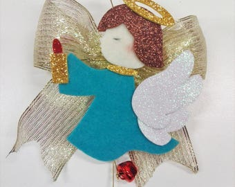 Felt angel and rubber crepe with bow