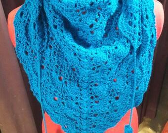 Blue wool blend scarf crochet
