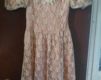 Pink dress cream lace overlay Golden Girls costume party