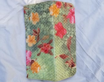 Rare Maurizio Taiuti Woven Painted Floral Leather Clutch Handbag Green, Pink, Orange, Red, Brown