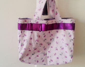 Small purple tote bag printed small purple flowers