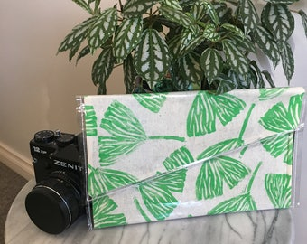 Ginkgo Leaf- Linoprinted Clutch