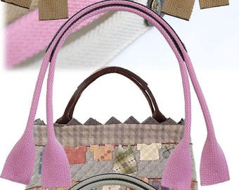 47cm leather handle and pink cotton