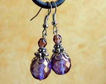 Purple and purple earrings, vintage style