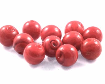 ♥X2 12mm♥ red glass bead